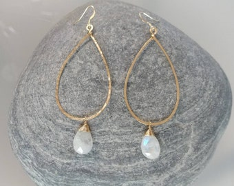 Moonstone Earrings, Gold Fill, Sterling Silver, Hoop Earrings, Hammered Earrings, Silver, Gold Fill, Moonstone, Long Drop Earrings, Hammered