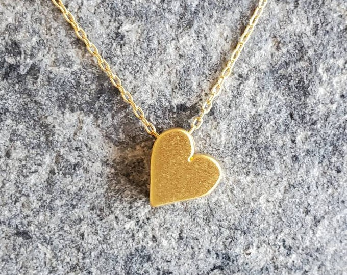 Tiny Gold Heart Necklace, Heart Necklace, Gold Vermeil, Gold Heart Necklace, Heart Bead, Dainty Heart, Tiny Heart, Dainty Gold Necklace