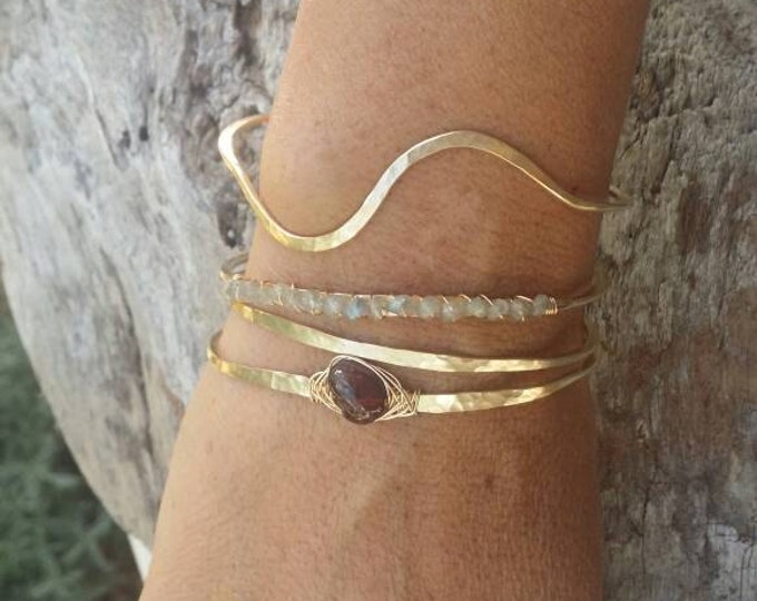 Gemstone Bracelet, Labradorite,Stacking Bangle, Sterling Silver, 16K Gold Fill, Rose Gold, Hammered bangle, Gold Bangle, Silver Bangle