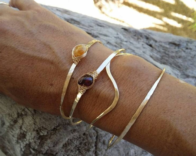 Gemstone Bracelet, Garnet, Stacking Bangle, Sterling Silver, 16K Gold Fill, Rose Gold, Hammered bangle, Gold Bangle, Silver Bangle