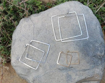Square Hoop Earrings, Hammered Hoops, Gold, Silver, Small, Medium, Large, Gold Hoop Earrings, Hammered Earrings, Gold Earrings, Square