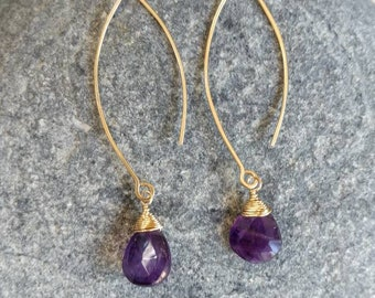 Gemstone Drop Earring, Amethyst, 14k Gold Fill, Sterling Silver, Earrings, Gemstone Earrings, Earrings, Dangle, Dainty