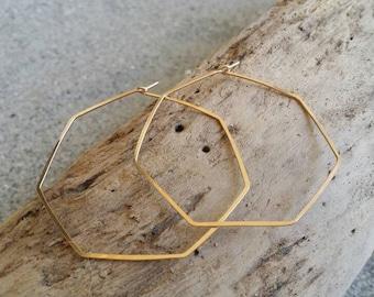 Gold Hexagon Hoop Earrings, Hammered Hoops, Hoop Earrings, Hammered Earrings, Gold Earrings, Gold Hoop Earrings, Gold Hoops