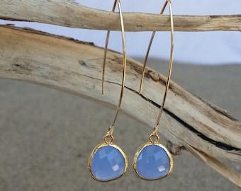 Bezel Set, Drop Earring, Faceted Blue Glass, Gold Filled Ear Wire