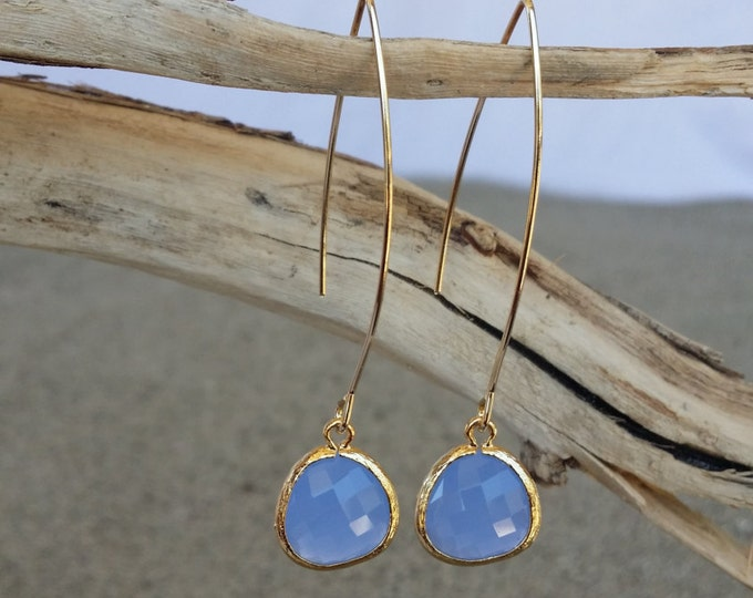 Bezel Set, Drop Earring, Faceted Blue Glass, Gold Filled Ear Wire
