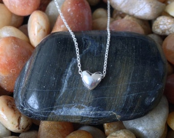 Tiny Sterling Silver Heart Necklace, Heart Bead, Silver Heart Necklace