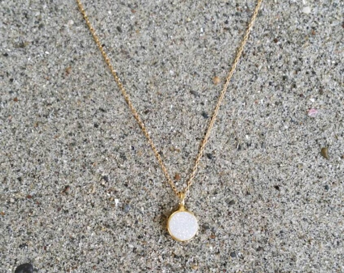 Tiny Gold Druzy necklace, Dainty, Druzy, Gold Necklace