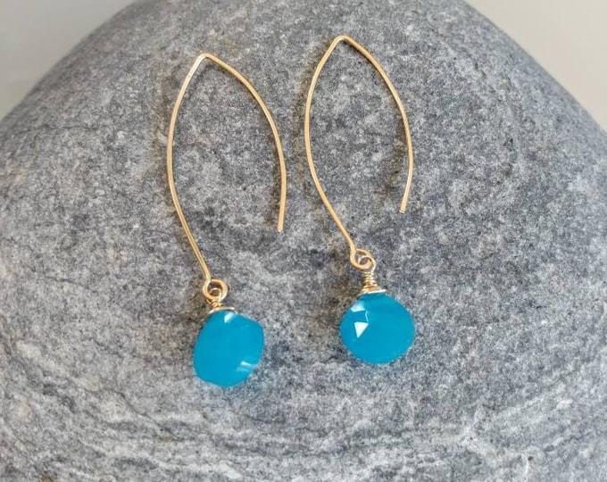 Drop Earring, Faceted Blue Chalcedony, Gold Fill, Sterling Silver, Earrings, Gemstone Earrings, Blue, Chalcedony, Earrings, Dangle, Dainty