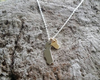 California Love, Tiny Sterling Silver California Necklace, Gold Heart, Silver Necklace, I Love California, Necklace, Small Silver Necklace
