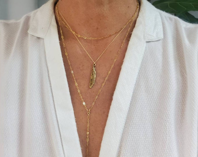 Feather Necklace, Layering Necklace, Gold, Silver, Feather, Feather Necklace, Boho, Gold Necklace, Layered, Necklace