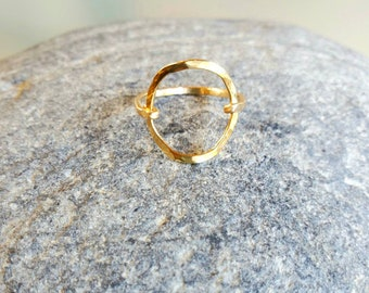 Dainty Ring, Circle Ring, Gold Ring, Hammered, Simple, Tiny Ring, Gold Fill, Sterling Silver, Silver Ring, Silver Circle, Gold Circle, Ring