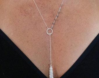 Elegant Y Necklace, Fringe, Simple Necklace, Layering Necklace, Long,  Dressy Necklace, Y Necklace, Gold, Silver, Labradorite