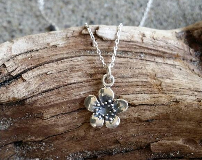Sterling Silver Plum Blossom Necklace, Flower, Silver Necklace, Flower Necklace, Large
