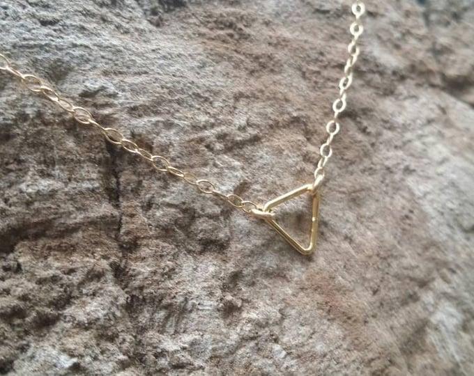 Teenie Tiny Gold necklace, Tiny Triangle, layering necklace, gold fill, tiny necklace, tiny charm necklace, Dainty, Tiny Gold Necklace