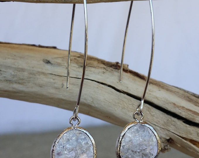 Bezel Set, Drop Earring, Faceted Crackled Glass, Silver Ear Wire