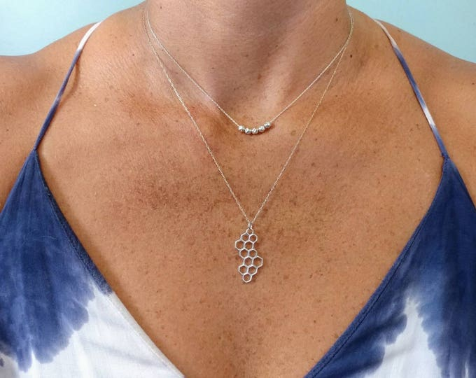 Silver honeycomb necklace, Sterling Silver, Honeycomb,  charm necklace, Simple, Necklace, Silver Necklace, Everyday necklace,