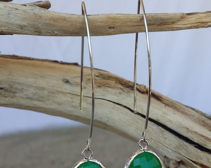 Bezel Set, Drop Earring, Faceted Crackled Glass, Silver Ear Wire, Emerald Green