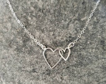 Double Heart Necklace, Mother, Daughter, Two Hearts, Sterling Silver, Small Heart Necklace, Silver Heart Necklace, Mother's, Day, Necklace