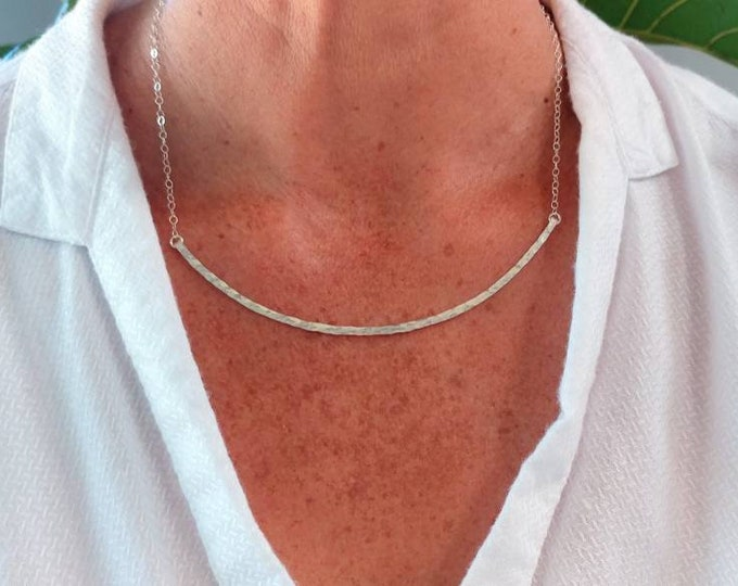 Extra Large Hammered Bar Necklace, Silver, Hammered Necklace, Hammered Bar, Curved Bar Necklace, Large, Gold, or Silver