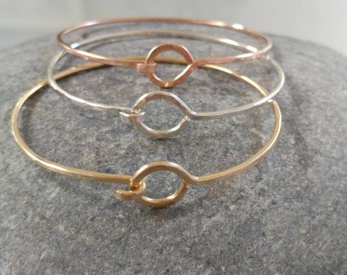 Hammered Bangle, Bracelet, Sterling Silver, 16K Gold Fill, Rose Gold, Stacking Bangle, Gold Bangle, Silver Bangle, simple bracelet, tiny