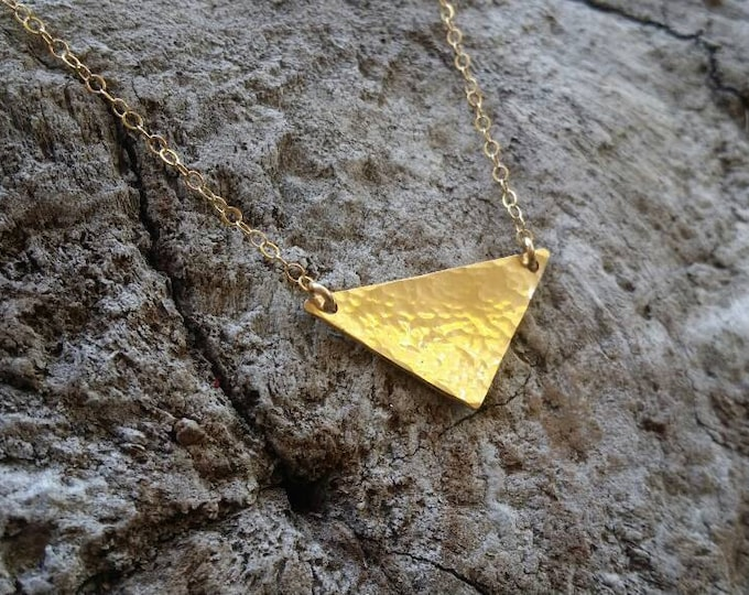 Small Gold Hammered Triangle Necklace, Gold Fill, Hammered Necklace, Tiny Gold Necklace, Gold Necklace