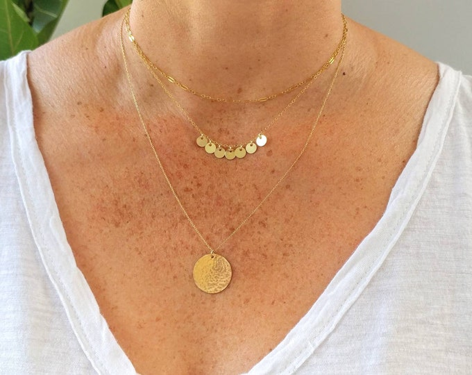 Tiny Sequin Necklace, Mixed Metal, Coin Necklace, Hammered Disk, Tiny Sequin, Small Circle, Charm Necklace, Gold, Silver, Boho, Layering