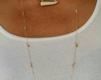"""Long Necklace, Small Cross, Charm Necklace, 30"""" Gold Fill"""