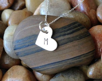 Monogram Necklace, Initial Necklace, Sterling Silver Heart Charm, Heart Pendant, Tiny Necklace