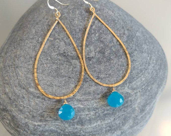 Gemstone Earrings, Gold Fill, Sterling Silver, Blue Chalcedony, Earrings, Hammered Earrings, Silver, Gold Fill, Long Drop Earrings, Hammered