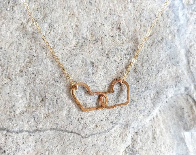 Double Heart Necklace, Gold Filled, Sterling Silver, Mixed Metal, mother's necklace, love necklace, heart necklace, two hearts