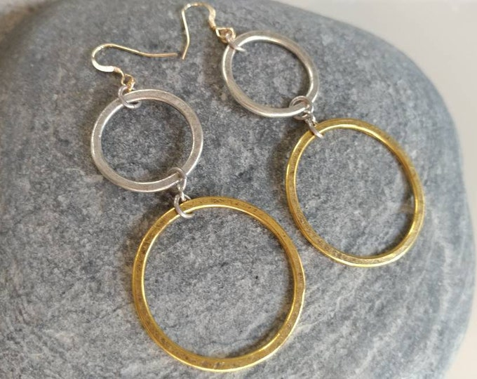 Double Circle Earrings, Mixed Metal, Simple Hoops, Circle Earrings, Gold, Silver, Copper, Hoop Earrings