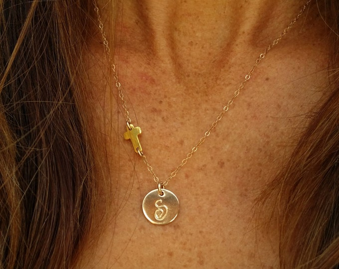 Tiny Gold Cross, Monogram Necklace, Cross necklace, Initial necklace