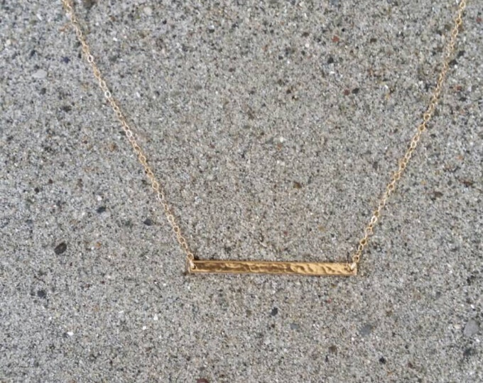 Medium Hammered Bar, Horizontal, Gold Bar, 1.5 inch, Gold Filled, Bar Necklace, Gold Bar Necklace