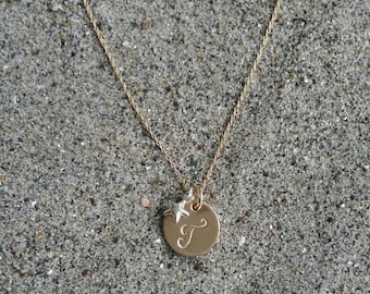 Monogram Necklace, Gold Necklace, Star Necklace, Sterling Silver Star, Initial Necklace, Star Initial Necklace