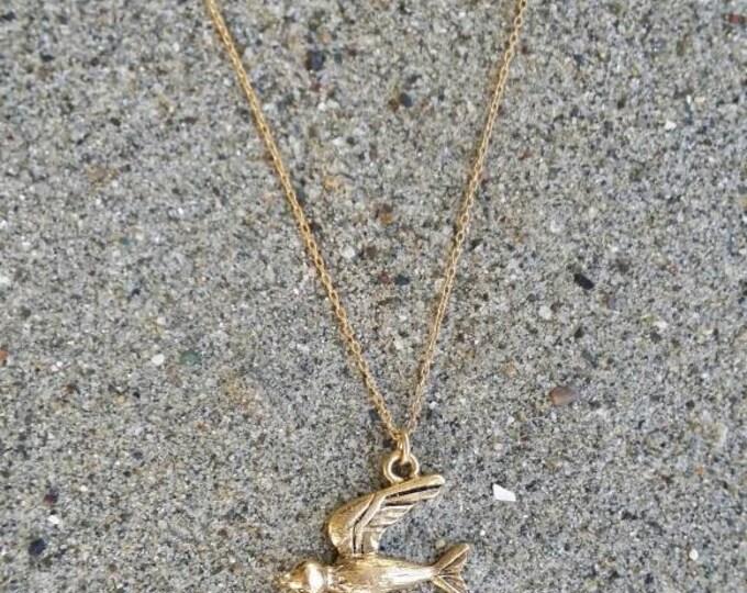 Bird Necklace, Bird Pendant, Gold Bird Necklace, Sparrow, Robin