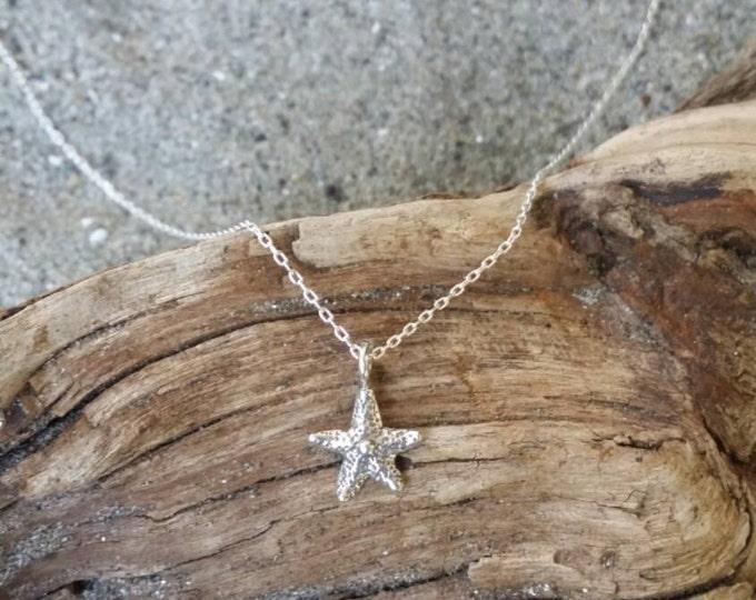 Tiny Sterling Silver Starfish Necklace, Tiny Starfish, Dainty, Silver Starfish Necklace, Sterling Silver, Delicate, Sterling Silver