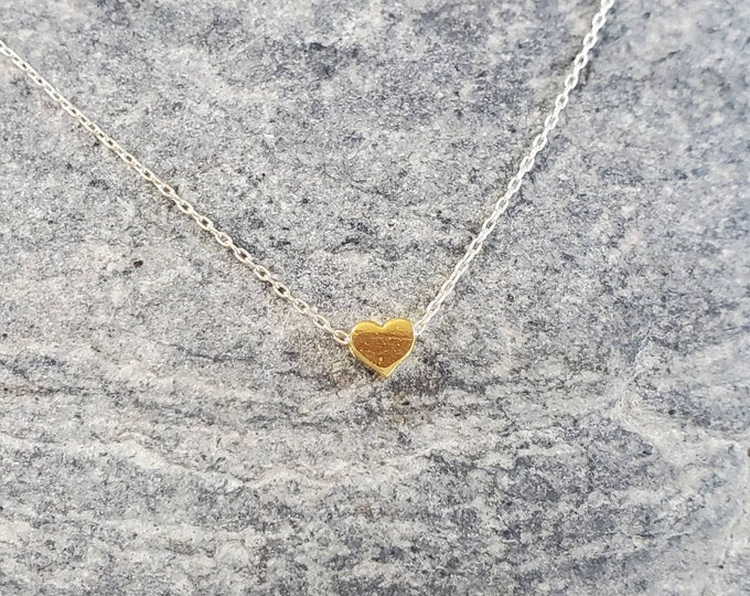 Tiny Gold and Silver Heart Necklace, Gold Heart, Silver Heart, Heart Necklace, Sterling Silver, Gold Fill, Mixed Metal, Dainty, Minimalist