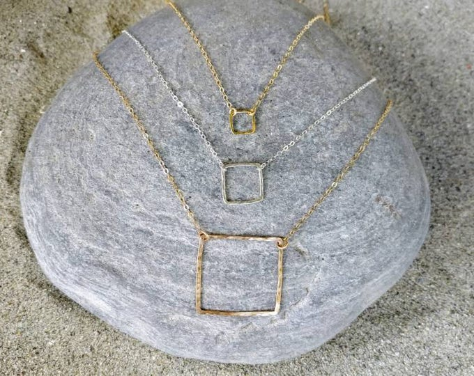 Square necklace, layering necklace, gold fill, or, Sterling Silver, Square Necklace, Geometric, simple