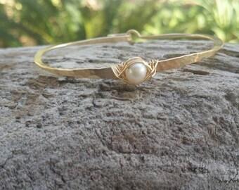 Gemstone Bracelet, Pearl, Stacking Bangle, Sterling Silver, or, 16K Gold Fill, Hammered bangle, Gold Bangle, Silver Bangle, tiny bracelet