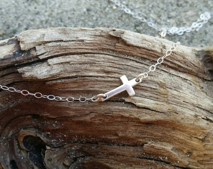 Tiny Sterling Cross Necklace, Cross Pendant, Silver Cross, Sideways Cross, Dainty, Delicate, Sterling Silver, Cross Necklace