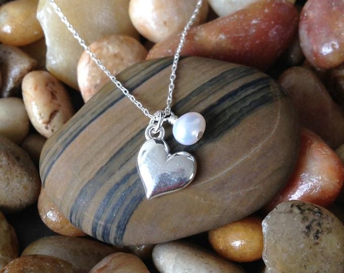 Sterling Silver Heart Necklace, Birthstone, Heart Pendant