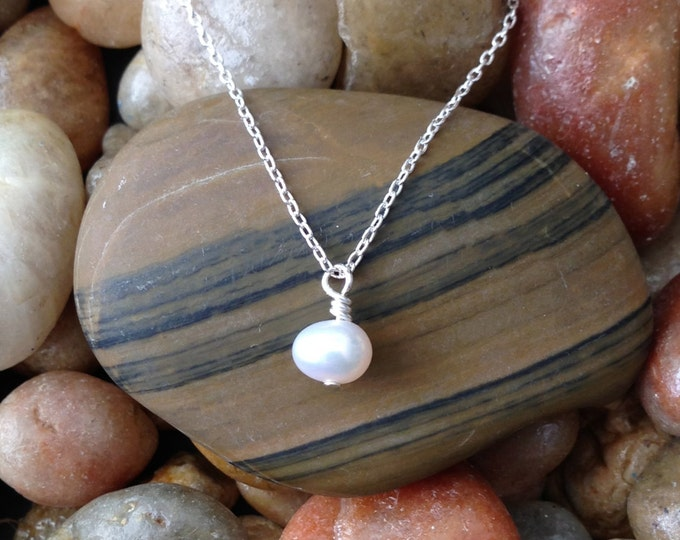 Pearl Charm Necklace, Silver Chain