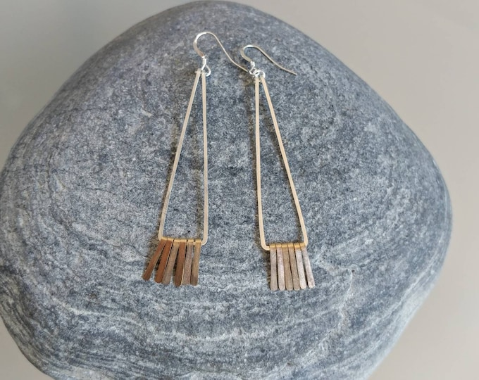 Fringe Earrings, Silver and Gold, Mixed Metal, Hammered Earrings, Fringe Earrings, Long Earrings, Dressy, Sterling Silver, Gold Fill, Dainty