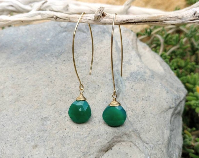 Drop Earring, Faceted Green Chalcedony, Gold Fill,Sterling Silver, Earrings, Gemstone Earrings, Emerald, Chalcedony, Earrings, Dangle,Dainty