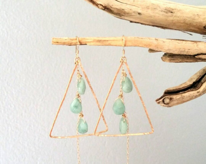 Gemstone Earrings, Amazonite, Briolette, 14k Gold Fill, Sterling Silver, Gold Hoops Earrings, Chain Earrings, Chandelier Earrings, Triangle