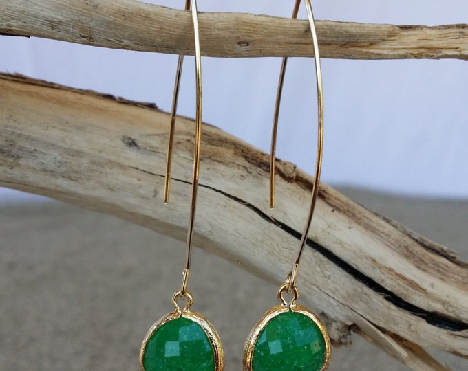 Bezel Set, Drop Earring, Faceted Crackled Glass, Gold Filled Ear Wire, Green