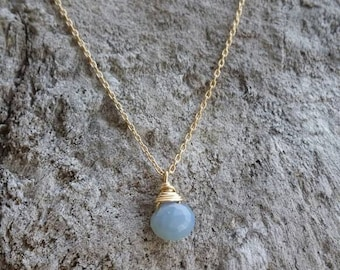 Gemstone Necklace, Blue Opal,  Layering Necklace, Simple Necklace, Gemstone Jewelry, Tiny Necklace, Gold or Silver