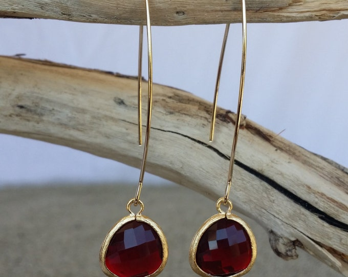 Garnet Bezel Set, Drop Earring, Faceted Glass, Gold Filled Ear Wire