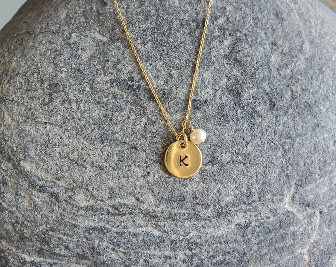 Tiny Gold Monogram Necklace, Initial Necklace, Gold Fill Round Charm, Birthstone Charm