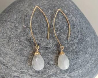 Drop Earring, Faceted Teardrop Moonstone Gold Fill, Sterling Silver, Earrings, Moonstone Earrings, Earrings, Dangle, Dainty, Moonstone